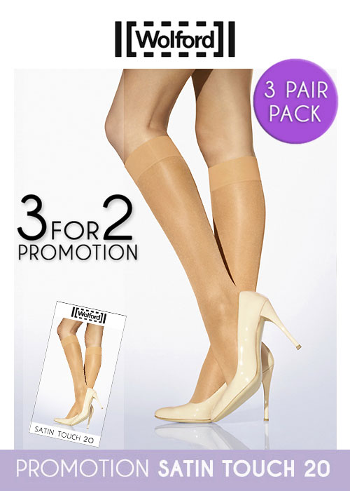 Wolford Satin Touch 20 Knee Highs 3 for 2 Promotion