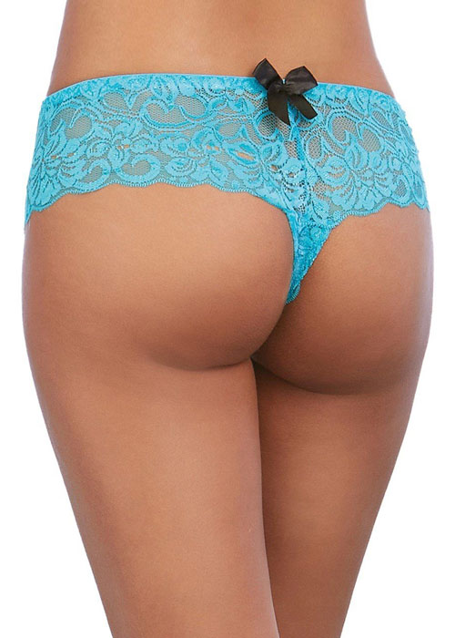 Dreamgirl Lace Open Crotch Hipster Brief With Satin Bow Details Zoom 2