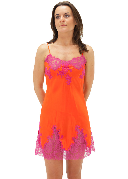 Marjolaine Silk And French Lace Chemise Saffron
