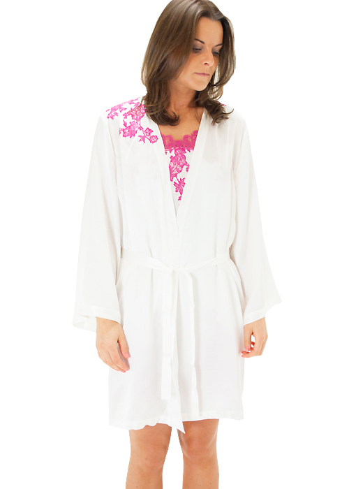 Marjolaine Silk And French Lace Short Robe Zoom 2