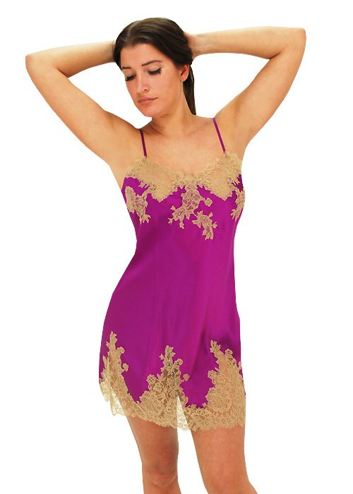 Marjolaine Silk and French Lace Chemise Orchid