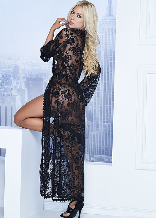 Mapale Long Lace Robe with Matching G-String Zoom 2