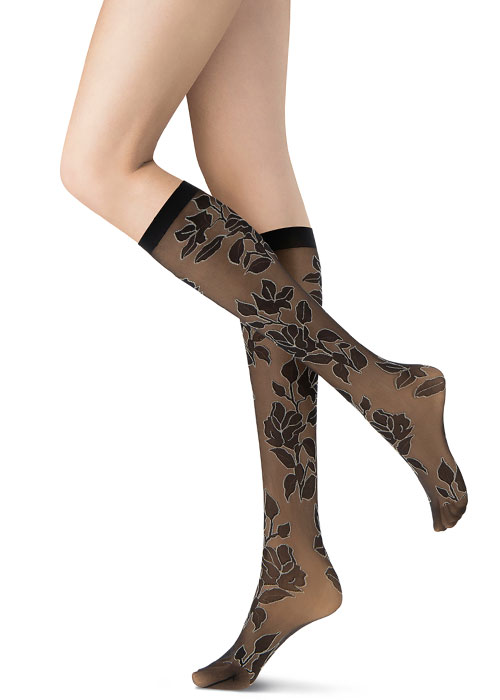 Oroblu Flowery Knee Highs