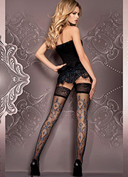 Ballerina Kara Deep Lace Top Hold Ups Zoom 1