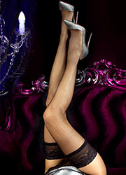 Ballerina Evelyn Fishnet Lace Top Hold Ups Zoom 2
