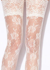 Charnos Bridal Floral Net Hold Ups Zoom 2