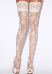 Charnos Bridal Floral Net Hold Ups Zoom 1