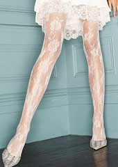 Charnos Bridal Floral Net Tights Zoom 2