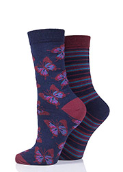 Charnos Butterfly And Stripe Socks 2PP Zoom 2