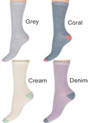 Charnos Contrast Heel And Toe Bamboo Socks Zoom 2