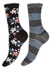 Charnos Floral And Stripe Socks 2PP Zoom 2