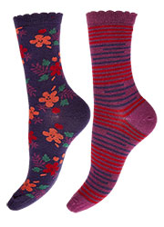 Charnos Floral And Stripe Socks 2PP Zoom 1