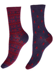 Charnos Geo And Fairisle Socks 2PP Zoom 2