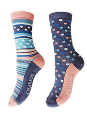Charnos Heart And Stripe Socks 2PP