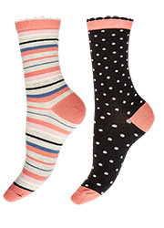 Charnos Spot And Stripe Socks 2PP Zoom 1