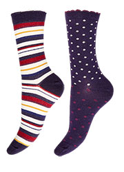 Charnos Spot And Stripe Socks 2PP Zoom 2