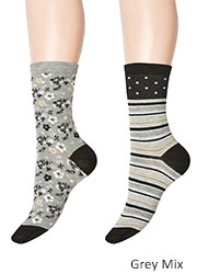 Charnos Stripe And Floral Socks 2PP Zoom 2