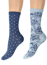 Charnos Textured Spot And Floral Socks 2PP