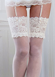 Couture Fine Mesh Bridal Deep Lace Top Stockings Zoom 2