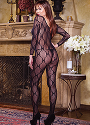 Dreamgirl Queen Size Sleeve Lace Bodystocking  Zoom 2
