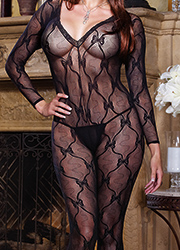 Dreamgirl Queen Size Sleeve Lace Bodystocking  Zoom 3