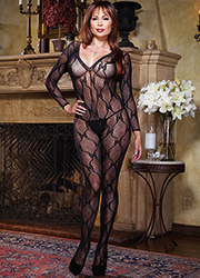 Dreamgirl Queen Size Sleeve Lace Bodystocking  Zoom 1