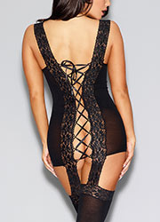 Dreamgirl Black Sheer and Stretch Lace Garter Dress Zoom 4