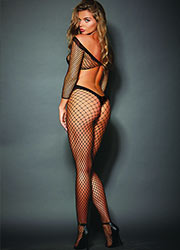 Dreamgirl Criss Cross Fishnet Bodystocking With Long Sleeves Zoom 3