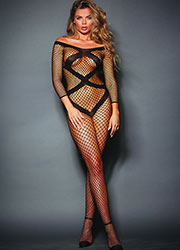 Dreamgirl Criss Cross Fishnet Bodystocking With Long Sleeves Zoom 1