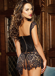 Dreamgirl Faux Leather and Venice Lace Fully Boned Corset Zoom 4