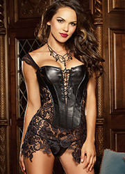 Dreamgirl Faux Leather and Venice Lace Fully Boned Corset Zoom 3