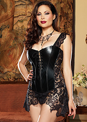 Dreamgirl Faux Leather and Venice Lace Fully Boned Corset Queen Size Zoom 3