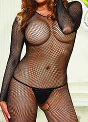 Dreamgirl Fishnet Long Sleeve Bodystocking Queen Size Zoom 2