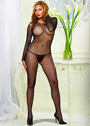 Dreamgirl Fishnet Long Sleeve Bodystocking Queen Size