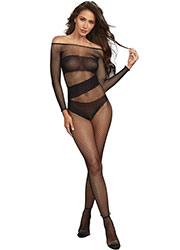 Dreamgirl Fishnet Opaque Detail Long Sleeve Bodystocking Zoom 1