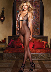 Dreamgirl Fishnet Plunge Front Faux Leather Detail Bodystocking Zoom 1