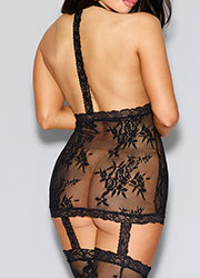 Dreamgirl Halter Black Lace Dress with Garters and Stockings Queen Size Zoom 3