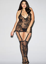 Dreamgirl Halter Black Lace Dress with Garters and Stockings Queen Size Zoom 1