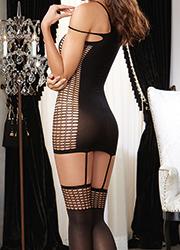 Dreamgirl Halter Net Detail Garter Dress Zoom 4