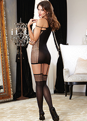 Dreamgirl Halter Net Detail Garter Dress Zoom 2