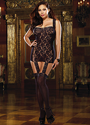 Dreamgirl Black Sheer and Stretch Lace Garter Dress Queen Size