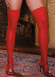 Dreamgirl Lace Top Silicone Sheer Hold Ups Queen Size Red