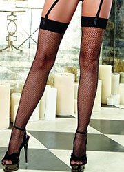 Dreamgirl Plain Top Fishnet Stockings With Back Seam Zoom 2