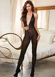 Dreamgirl Semi Opaque Halter Bodystocking With Functional Zip Zoom 1