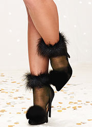 Dreamgirl Sheer Feather Top Ankle Highs