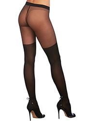 Dreamgirl Sheer Knitted Lace Up Boot Detail Pantyhose Zoom 2