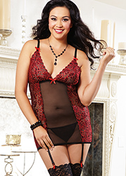 Dreamgirl Stretch Garter Slip in Black and Red Queen Size Zoom 3