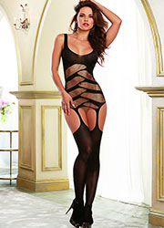 Dreamgirl Unique Strappy Semi Opaque Garter Dress  Zoom 1