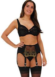 Elaine Edwards Antique Gold 6 Strap Suspender Belt