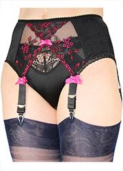 Elaine Edwards Black and Pink Crossover 6 Strap Suspender Belt